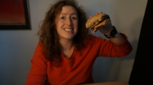 Eating a mushroom burger