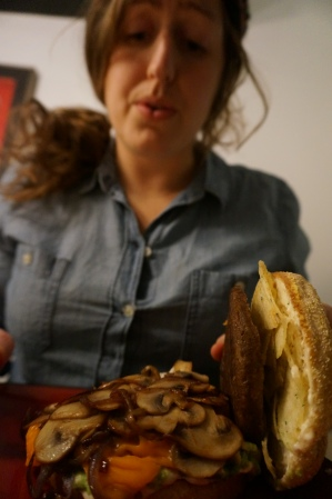 Eating A Burger Piled Sky-High With Mushrooms