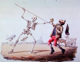 Death stabs a man