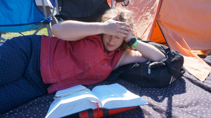 Reading the dictionary while camping